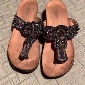 Black bejeweled sandals